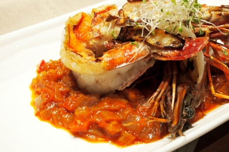salt and vinegar prawns with pickled cipolini onions and trinity sauce