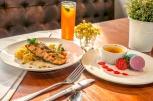 Grilled Salmon Fillet + Creme Brule + Tea